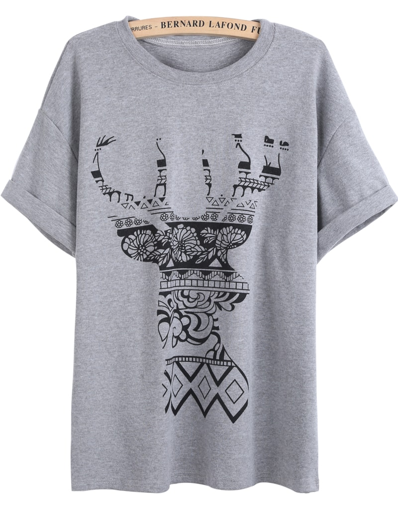 Grey Short Sleeve Floral Deer Print T Shirt SheIn Sheinside