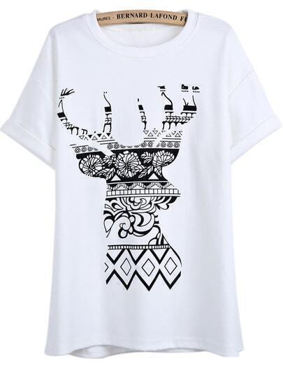 White Short Sleeve Floral Deer Print T-Shirt