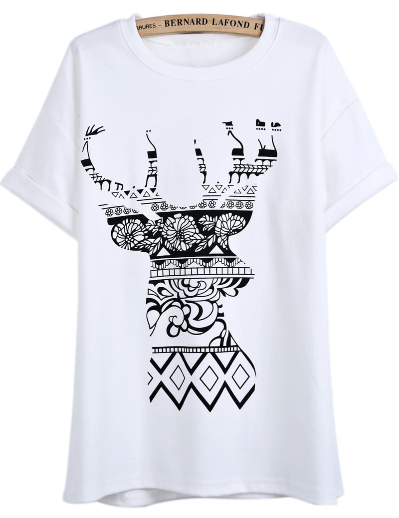 White Short Sleeve Floral Deer Print T Shirt SheIn Sheinside