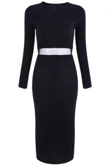 Black Long Sleeve Contrast Mesh Yoke Sweater Dress