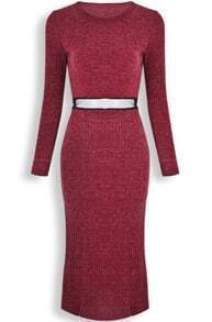 Red Long Sleeve Contrast Mesh Yoke Sweater Dress