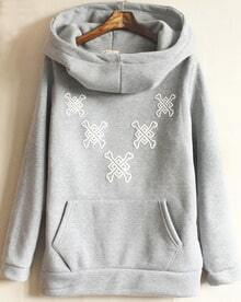 Grey Long Sleeve Hooded Pocket Sweatshirt