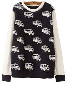Navy Contrast White Long Sleeve Car Pattern Sweater