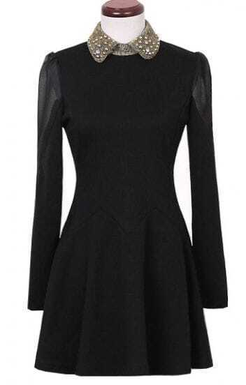 Black Long Sleeve Contrast Mesh Yoke Dress