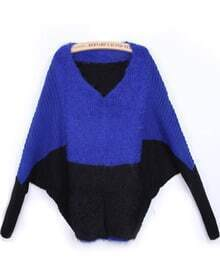 Blue V Neck Batwing Long Sleeve Mohair Sweater
