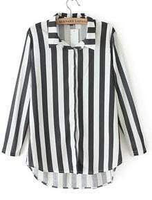 Black White Vertical Stripe Lapel Dipped Hem Blouse