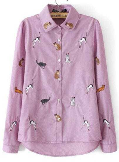 Purple Lapel Long Sleeve Cats Embroidered Blouse