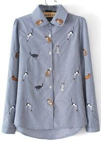 Blue Lapel Long Sleeve Cats Embroidered Blouse