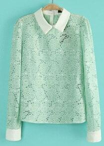 Green Contrast Lapel Long Sleeve Lace Blouse
