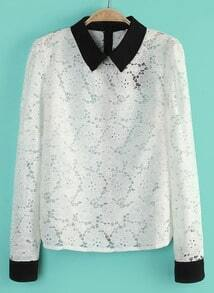 White Contrast Lapel Long Sleeve Lace Blouse
