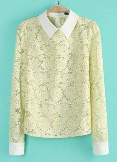 Yellow Contrast Lapel Long Sleeve Lace Blouse