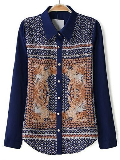 Blue Lapel Long Sleeve Totem Print Blouse