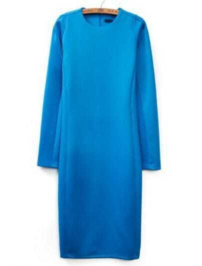 Blue Round Neck Long Sleeve Slim Bodycon Dress
