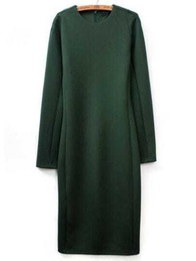 Green Round Neck Long Sleeve Slim Bodycon Dress