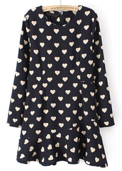 Navy Long Sleeve Hearts Print Ruffle Dress
