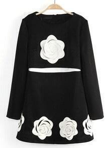 Black Long Sleeve Applique Ruffle Dress