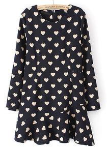 Navy Long Sleeve Hearts Print Ruffle Dress