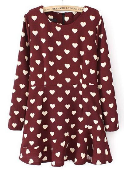 Wine Red Long Sleeve Hearts Print Ruffle Dress