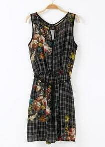 Black Sleeveless Plaid Floral Sundress