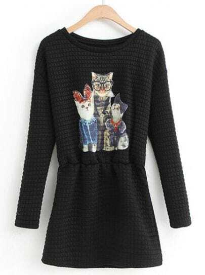 Black Round Neck Long Sleeve Cats Print Dress