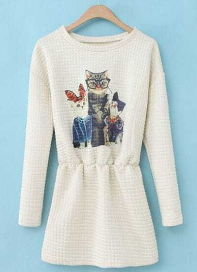 White Round Neck Long Sleeve Cats Print Dress