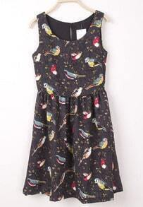 Dark Grey Sleeveless Bird Branch Print Dress