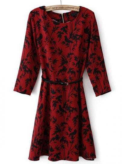 Red Long Sleeve Zipper Leaves Print Dress