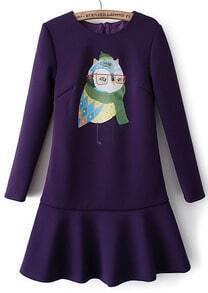 Purple Long Sleeve Owl Print Ruffle Dress