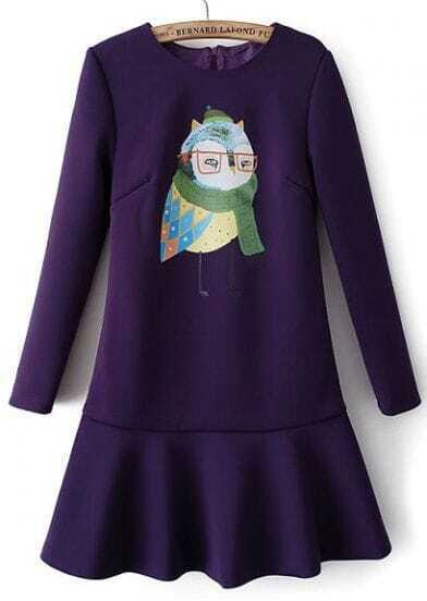 Purple Long Sleeve Owl Print Ruffle Dress