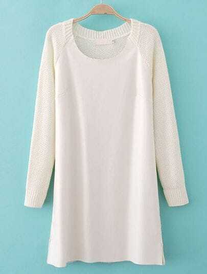 White Long Sleeve Contrast PU Leather Sweater Dress