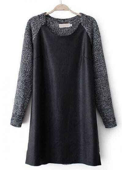 Black Long Sleeve Contrast PU Leather Sweater Dress