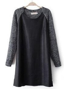 Black Long Sleeve Contrast PU Leather Sweater Dress