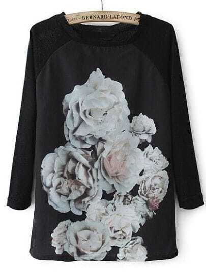 Black Round Neck Long Sleeve Floral Loose T-Shirt