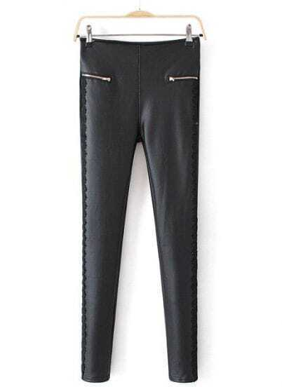 Black Sides Lace Elastic Leather Pant