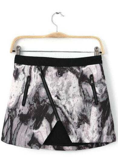 Black White Oblique Zipper Ink Print Skirt