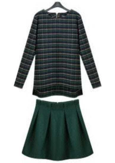 Green Long Sleeve Plaid Top With Pleated Skirt