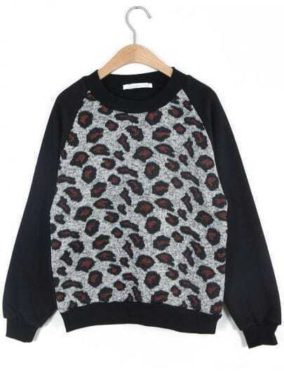 Black Long Sleeve Leopard Loose Sweatshirt