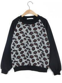 Black Long Sleeve Leopard Loose Sweatshirt