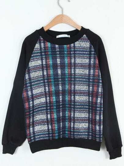 Black Long Sleeve Plaid Loose Sweatshirt