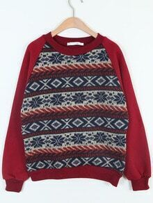 Red Long Sleeve Snowflake Pattern Loose Sweatshirt