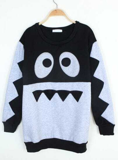 Black Long Sleeve Cartoon Eyes Print Sweatshirt