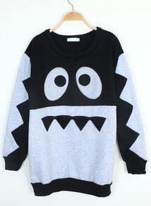 Black Long Sleeve Cartoon Eyes Print Sweatshirt