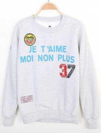 Grey Long Sleeve Letters 37 Print Sweatshirt