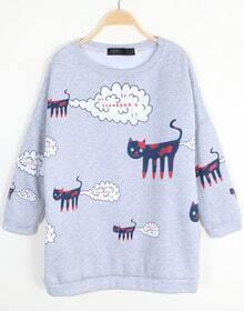 Light Grey Long Sleeve Cat Print Loose Sweatshirt