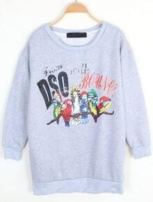 Grey Long Sleeve Letters Parrot Print Sweatshirt