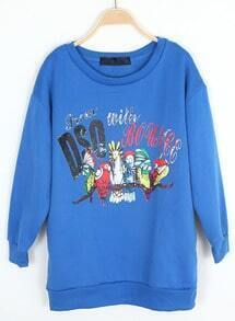 Blue Long Sleeve Letters Parrot Print Sweatshirt