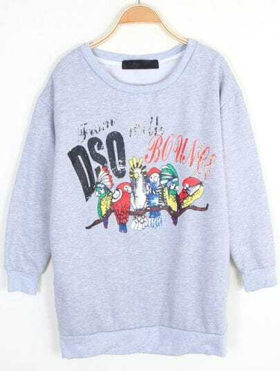 Grey Long Sleeve Letters Parrot Print Sweatshirt