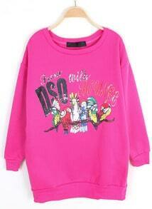 Rose Red Long Sleeve Letters Parrot Print Sweatshirt