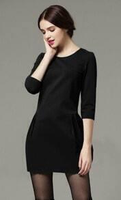 Black Three Quarter Length Sleeve Flare Pockets Dress