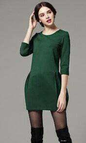 Green Three Quarter Length Sleeve Flare Pockets Dress